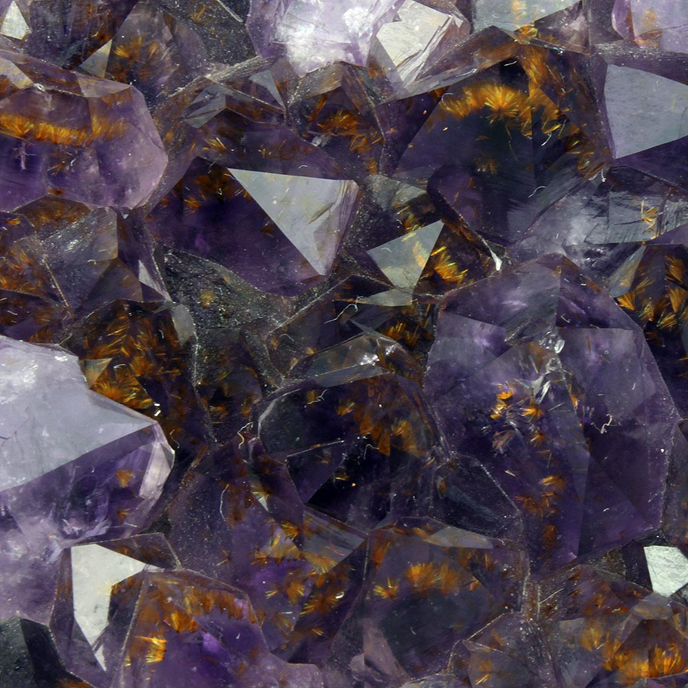 Golden Goethite Inclusions in Amethyst