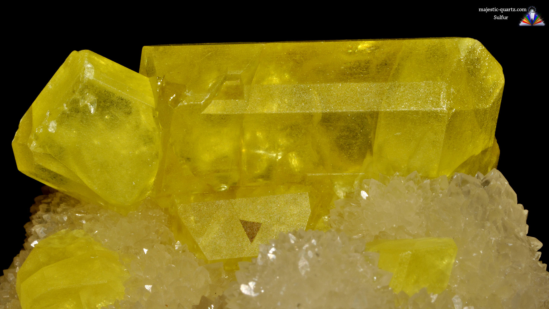 Bright Yellow Sulfur on Aragonite - The Mineral and ... |Sulfur Mineral
