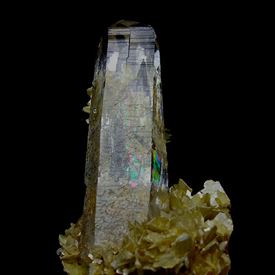 Citrine Rainbow Quartz Crystal With Mica