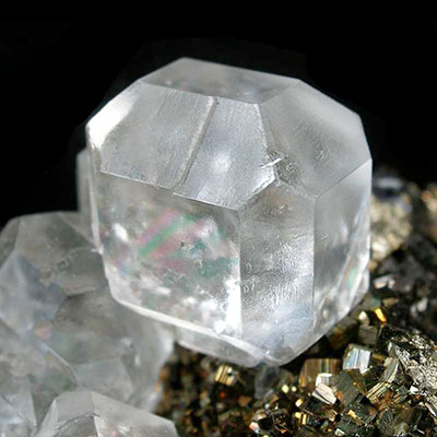 Clear White Fluorite Crystal on Pyrite
