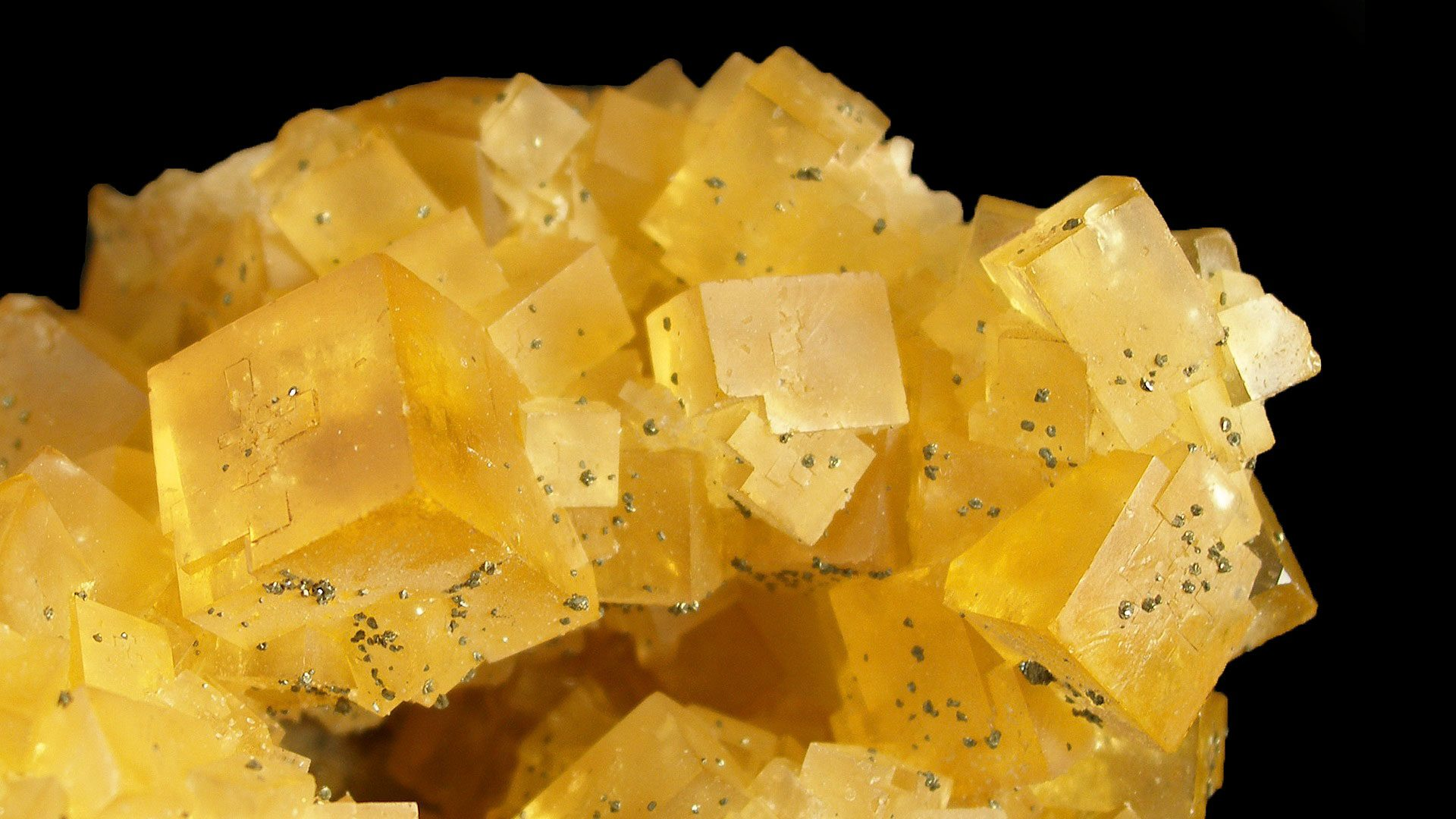 Gold Fluorite Cluster Specimen - Photograph by Rob Lavinsky, iRocks.com