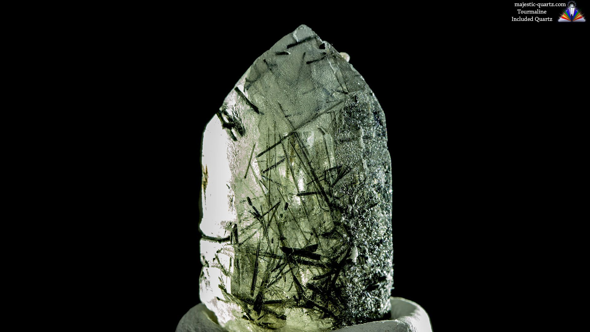 Green Tourmaline Included Quartz Crystal - Photograph by Anthony Bradford