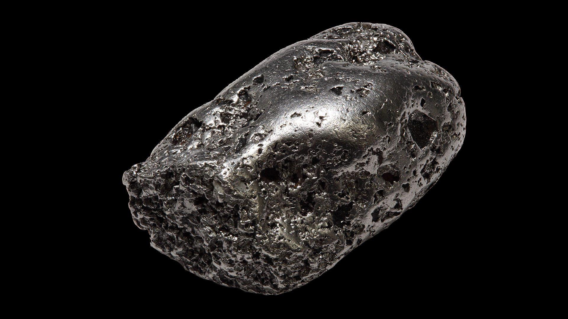 Native Platinum nugget, locality Kondyor mine, Khabarovsk Krai, Russia